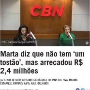 Marta diz que não tem 'um tostão', mas arrecadou R$ 2,4 milhões